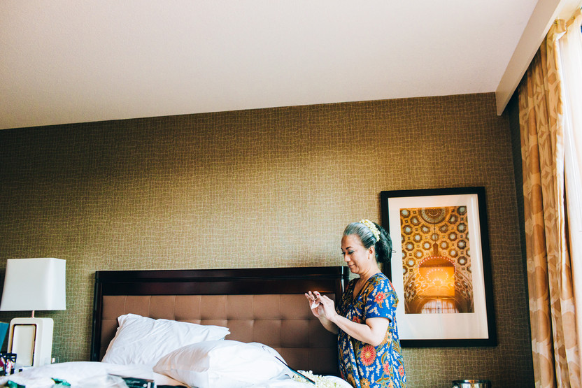 mother of the bride in a hotel room before the wedding