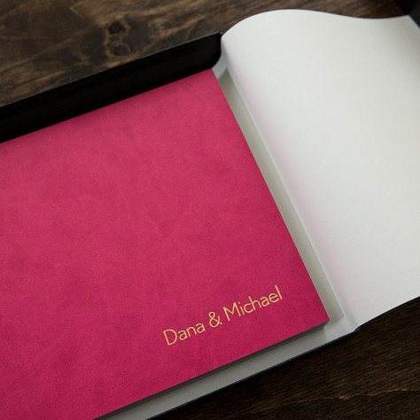 Contemporary Handmade Vegan Leather Wedding Album | Made in Canada