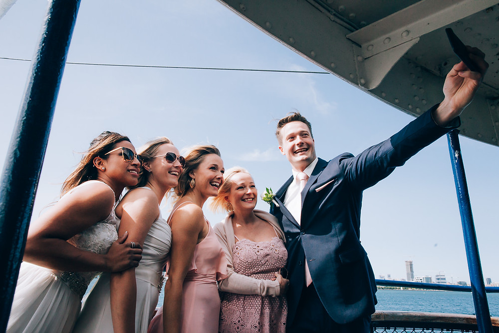 wedding selfies on toronto island ferry