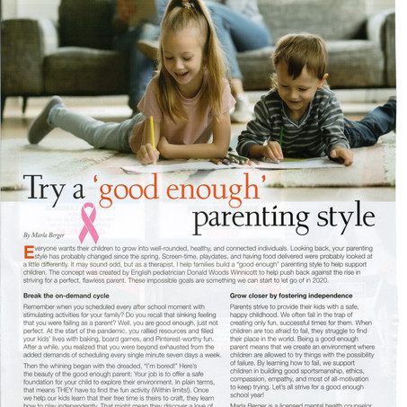"Pandemic Parenting - Try a ""good enough"" parenting style"