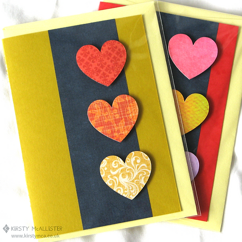 Hearts handmade greeting card (assorted)