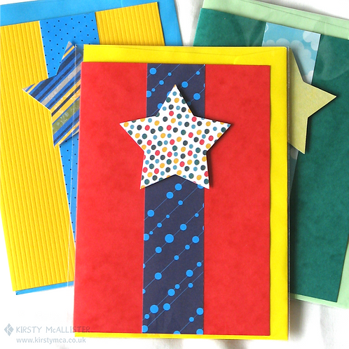 Star handmade greeting card (assorted)