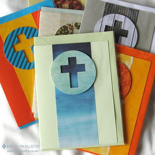 Cross & circle handmade greeting card (assorted)