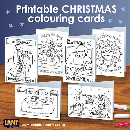 Printable Christmas colouring cards