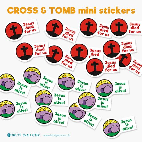 Cross & Tomb mini stickers