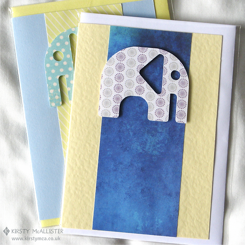 Baby elephant (boy) handmade greeting card (assorted)