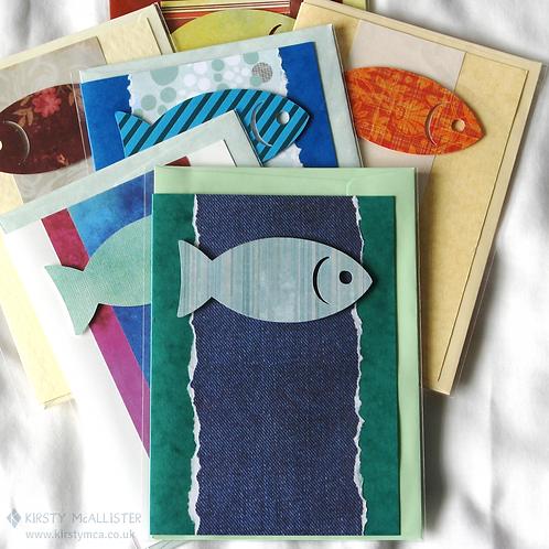 Fish handmade greeting card (assorted)