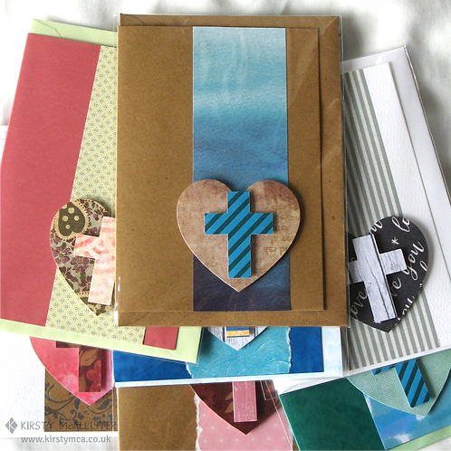 Cross & heart handmade greeting card (assorted)