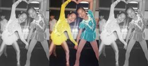 Misato Komatsubara skating in her childhood with best friend Natsumi in Japan
