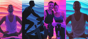 Lewis Gibson with Tessa Virtue at the Victoria Park cycling studio in Montreal