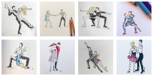 Stationary Lift Tamara Milošević's drawings of figure skaters