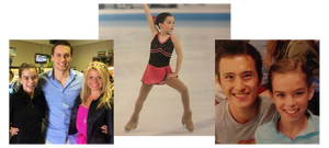 Evelyn Walsh as a young skater with Michael Marinaro, Kirsten Moore-Towers, and Patrick Chan