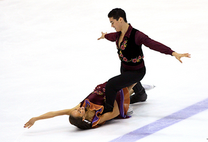 Jordan Cowan ice dancing with former partner Anastasia Olson