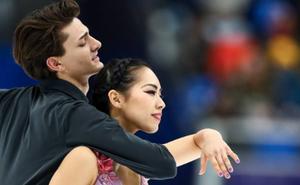 Misato Kombatsubara and ice dance partner Tim Koleto performing their 2018-2019 free dance