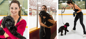 Kaetlyn Osmond with her dog Rasquette on the ice