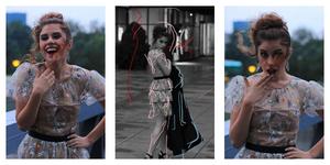 Stationary Lift Tamara Milošević posing for a fashion photoshoot with Janko Durić