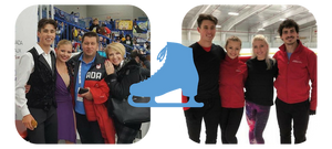 Molly Lanaghan and Dmitre Razgulajevs with their coaches Juris Razgulajevs and Carol Lane and trainingmates Piper Gilles and Paul Poirier