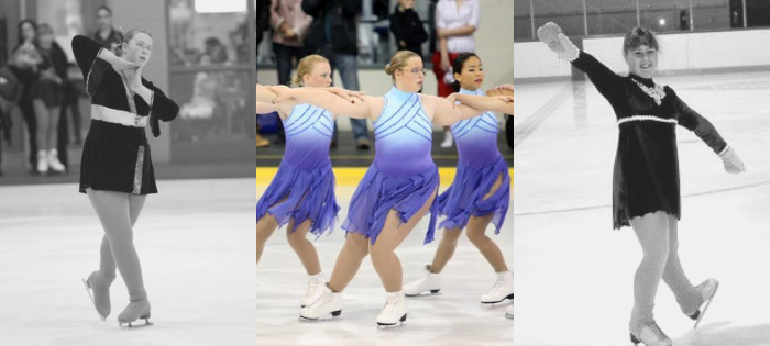 Danielle Earl figure skating as a young teenager on synchro and singles