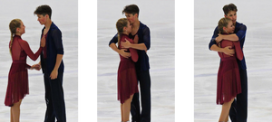 Dmitre Razgulajevs and Molly Lanaghan after performing their 2019 free dance