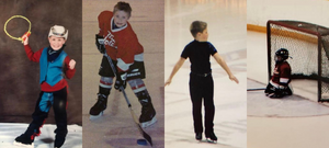 Trennt Michaud as a young figure skater and hockey player