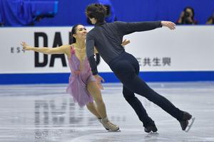 "Misato Komatsubara and Tim Koleto skating their ""une histoire d'amour"" free dance"