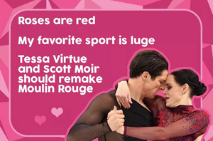 Tessa Virtue and Scott Moir in a Moulin Rouge meme