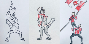 Stationary Lift Tamara Milošević's drawings of Canadian ice dancers Tessa Virtue and Scott Moir