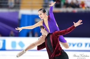Tim Koleto and Misato Komatsubara performing their rhythm dance at the 2018 Rostelecom Cup