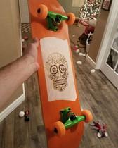 custom laser etched skate deck for Chris