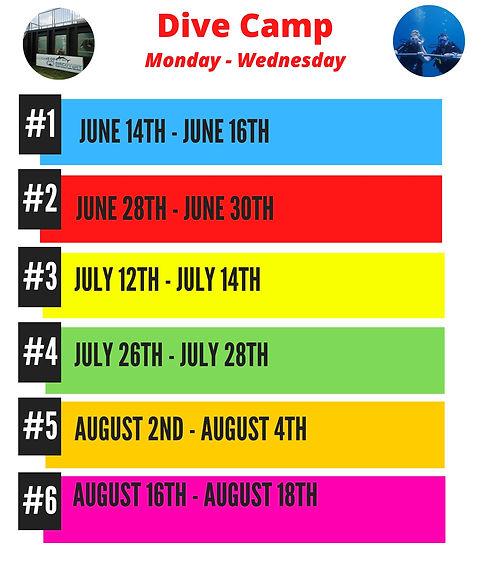 summer 2021 scuba diving camp schedule