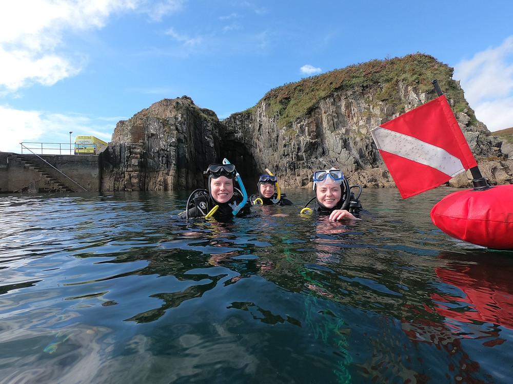 PADI Open Water Students diving in Cork Ireland