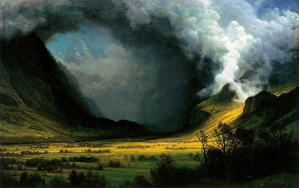 Painting by Albert Bierstadt: A storm shadows mountians on the left as sun brightens the landcape on the right