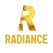 Logo for Radiance: A gold foil 'R' bisected diagonally