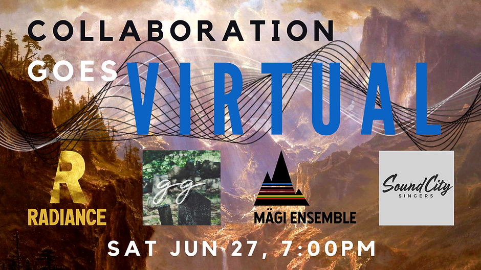 """A. Bierstadt's """"Rocky Mountains"""" with """"Collaboration goes Virtual"""" and concert info superimposed"""