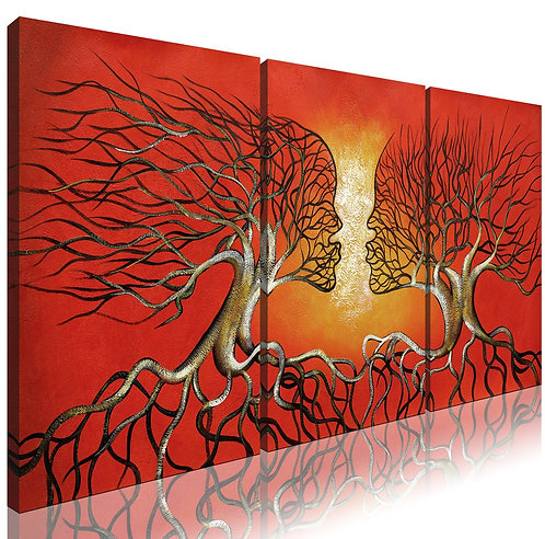 Modern Abstract Lovers Tree 3-Panel Red Framed Giclee Canvas Prints, Ode-Rin Art