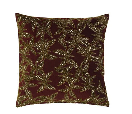 DEKORERA Cushion cover, flower patterned wine red 50x50 cm by IKEA