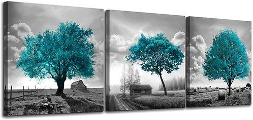 Black & White Farmhouse Rustic Country Landscape with Teal Trees  Artwork 3 Set