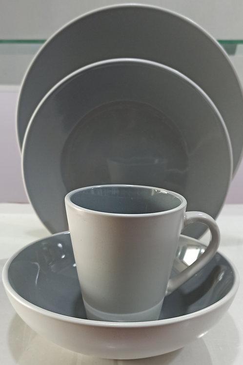 16-piece Dinnerware Set, Service for 4, Grey