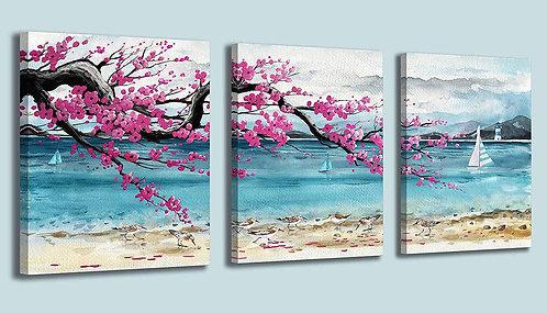 Beach Theme Canvas Wall Art Decor 3 Pieces by Mofutinpo