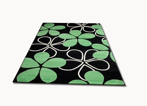 High Pile Center Rug, Green and  Black, 5 X 7 ft  by Nobel Rug