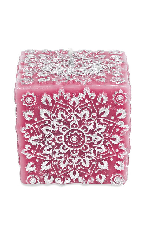 Pink Paisley Cube Candle