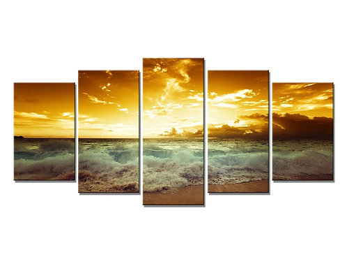Boat Colour Sea 5 Panel Canvas Print Paintings, Youkuart