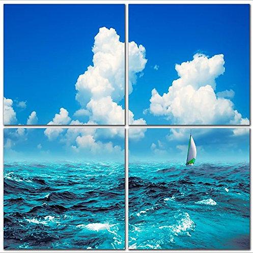 Blue Sky White Cloud Sailing 4-Piece Print Ocean View, Natural Art