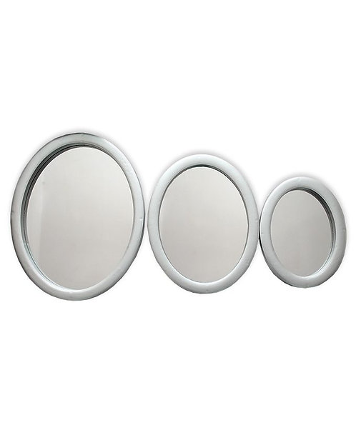 Silver 3-Piece Oval Decorative Wall Mirror