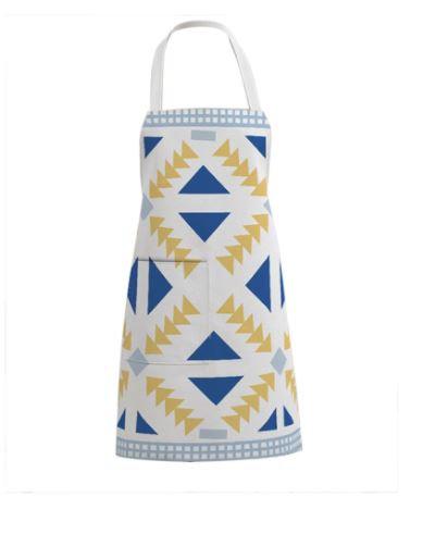 Printed Linen Cotton Apron White/Blue/Yellow 75 x 24 x 65 cm by Amal