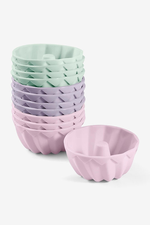 12 Pieces Ring Cake Moulds, Lilac/Mint/Pink by Tchibo