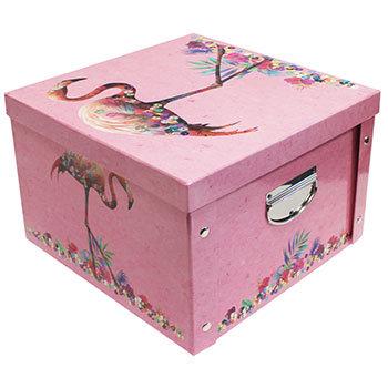 Sequin Flamingo Collapsible Storage Box
