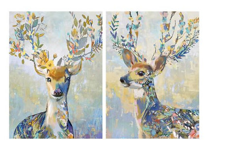 PJÄTTERYD Picture, colourful reindeer 50x70 cm by IKEA