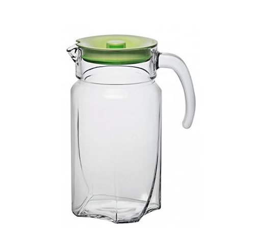 Glass Water Jug with Green Acrylic Lid by Pasabahce