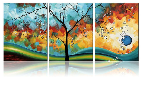 Modern Abstract Landscape Tree 3 Piece Framed Artwork, Ode-Rin Art